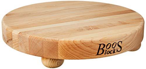 John Boos Block B12R Round Maple Wood Edge Grain Cutting Board with Feet, 12 Inches Round, 1.5...