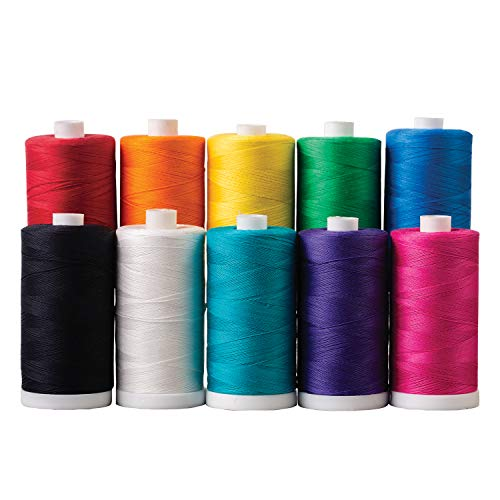 Connecting Threads 100% Cotton Thread Sets - 1200 Yard Spools (Set of 10 - Crayon Box)