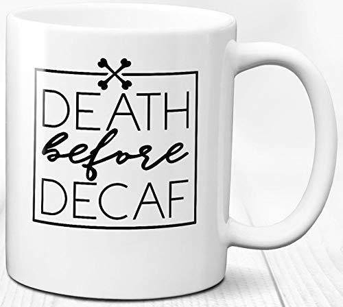 Weißer Kaffeebecher 330 ml Koffein süchtig Kaffee Liebhaber Decaf Geschenk Keramik Tasse