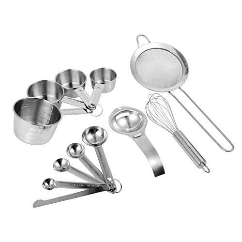 Tecreo Juego de taza medidora y cuchara medidora, regla de medición, separador de huevos, batidor, colador de harina, báscula de cocina, juego de utensilios de cocina, acero inoxidable