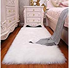 Yazlyn Collection Super Soft Faux Sheepskin Fur, Rabbit Skin Fur, Area Rugs, Carpet for Living Room, Bedroom, Office Area, for Kids Room (2 X 5 Feet)