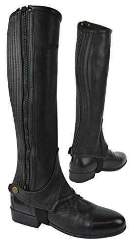Eric Thomas Unisex 913015 Leather Halbchaps, Schwarz/Blk/Blck, Größe : XL