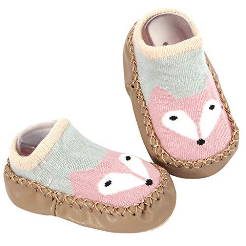 AKAIDE Baby Jungen Mädchen Socken Baumwollmischung Winter flauschig Socken Schuhe Bequem Super weich Anti-Rutsch Slipper Strümpfe Cartoon Stiefel 2 Paar Gr. XL, C