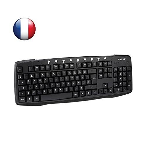 Leshp Mechanische Gamer-Tastatur, USB, LED-Hintergrundbeleuchtung, Blue Switches, AZERTY (105Tasten, mit USB-Kabel) für Gamer, Schreibkräfte, etc Clavier Noir