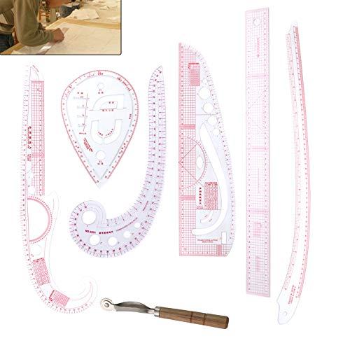 YORKING 7 Schneiderlineal Bekleidung Kurve Lineal Ärmel Knopf Patchwork Zubehör Design für Muster Zeichnung als Schablone Mehrzweck