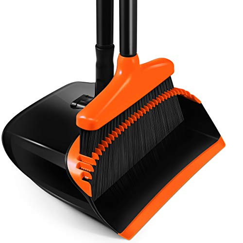 """Homemaxs Broom and Dustpan Set, [2021 Upgraded] Broom and Dustpan with 54.7"""" Long Handle Upright Stand Up Broom and Dustpan Set for Home Kitchen Room Office Lobby Floor Orange"""