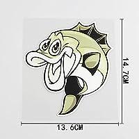 HXZH 13.6cmx14.7cmの興味深い魚の車のステッカー漫画モデリングPVCデカール (Color Name : 6A-0204)
