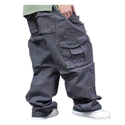 N\P Pierna ancha Hip Hop Pantalones Hombres Casual Algodón Harem Cargo Pantalones Sueltos Pantalones holgados Streetwear