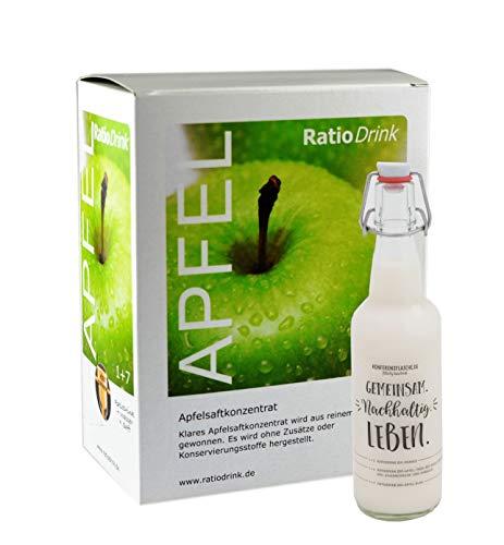 RatioDrink Saft-Konzentrat Apfel Klar 3 Liter Im Karton + Wiederverwendbare, Transparente Glas-Flasche Mit Bügelverschluss, 500ml (Apfel)