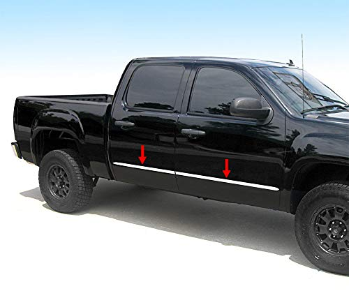Made in USA! Compatible with 2007-2013 Chevy Silverado/GMC Sierra Crew Cab 5.8' Bed Body Side Molding Trim 1.5' Wide 4PC