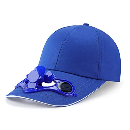 WE-WHLL Gorra de béisbol con Ventilador de refrigeración Solar con Panel Solar de Verano Sombrero de Visera para Exteriores con Visera Azul