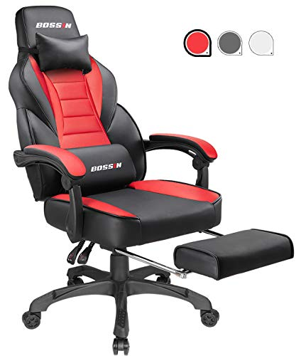 Gaming Chair Racing Style Office Ergonomic Chair High-Back PU Leather Design PC Computer Gaming Chair Adjustable Height Swivel Chair with Footrest, Headrest and Lumbar Support (Red) Chairs Dining Features Game Kitchen Video