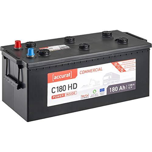 Accurat 12V LKW-Batterie 180Ah 1100A Commercial C180 HD Starter-Batterie für Nutzfahrzeuge, Land- und Baumaschinen, wartungsfrei