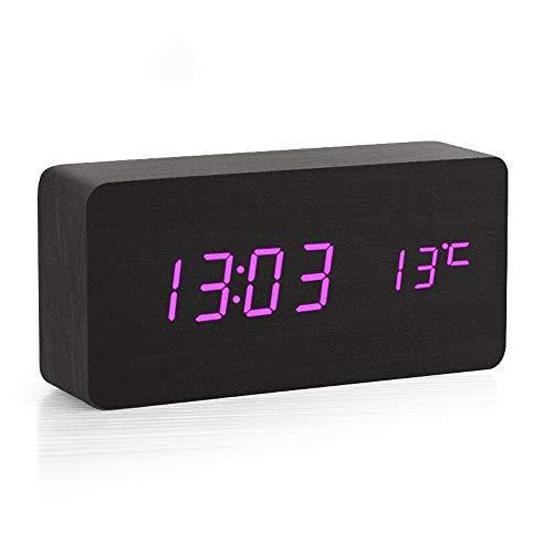 Clopkg Houten Creative Silent Lichtgevende Klok, digitale wekker-bedside Temperatuur Display-snooze Big Screen-instelbare helderheid-USB-poort, Purple Bold digitale display, verstelbare Alarm