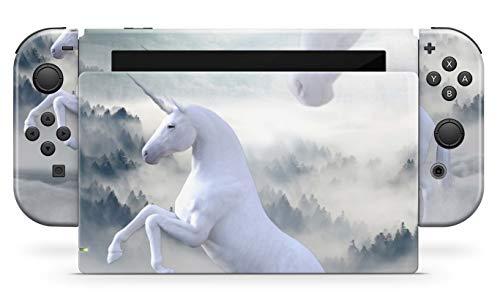 Skins4u Aufkleber Design Schutzfolie Vinyl Skin kompatibel mit Nintendo Switch Konsole & Controller White Unicorn