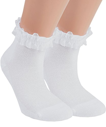 Vitasox 21094 Mädchen Kinder Socken Rüschen Rüschensocken Kindersocken Baumwolle ohne Naht weiß 3er Pack 31/34