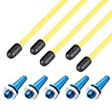 uxcell RC Antenna Tube Yellow with Blue Mount and Cap for RC Boat 5pcs