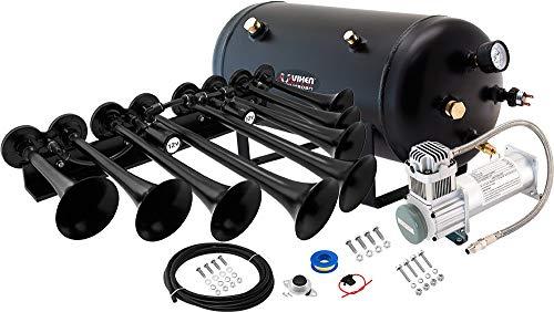 Vixen Horns Train Horn Kit for Trucks/Car/Semi. Complete Onboard System- 200psi Air Compressor, 5 Gallon Tank, 8 Trumpets. Super Loud dB. Fits Vehicles Like Pickup/Jeep/RV/SUV 12v VXO8350/8124XB