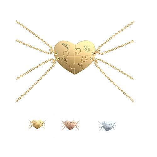 Grand Made Necklaces Puzzle 4 Piezas Collar Personalizado de Plata Esterlina 925 para Familia Collar con 4 Nombres El Mejor Collar de Regalo para el día del Padre Día de la Madre (Gold, Plata)