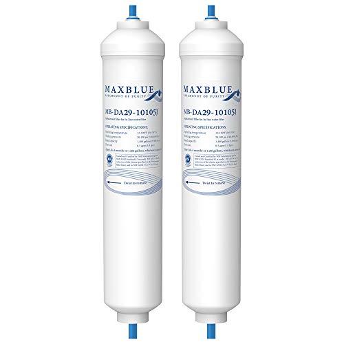 Maxblue 2X DA29-10105J Filtre à Eau pour Réfrigérateur, Compatible avec Samsung DA29-10105J HAFEX/EXP DA2010CB LG 5231JA2010B 5231JA2010A Wpro USC100/1 LG BL-9808 WSF-100 EF9603 (2)