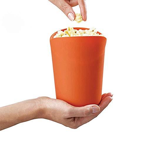 Opfury Popcornmaschine, Mikrowellen-Popcorn-Hersteller, Silikon-Popcorn-Hersteller-zusammenklappbarer Falten Eimer Schüssel DIY Behälter mit Deckel für Zuhause (Orange)