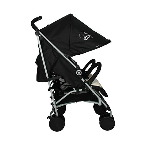 My Babiie Billie Faiers MB22 Black and Cream Double Stroller My Babiie Stylish ultra-modern stroller, Suitable from birth to maximum 22kg (each seat), Stunning complimentary colour handles Lightweight & strong chassis, Easy fold technology, Lockable front swivel wheels, Side carry handle Compact fold, Extendable 3 position canopy, Padded removable front bar, Large storage basket 4
