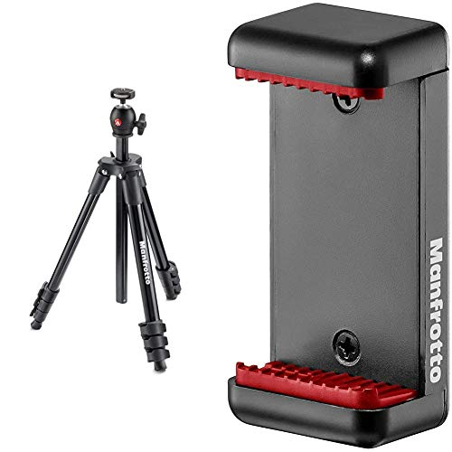 Manfrotto Compact Light Aluminum 4-Section Tripod Kit with Ball Head, Black (MKCOMPACTLT-BK) & Universal Smartphone Clamp, Basic Version (MCLAMP)