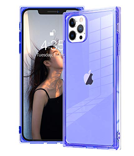 Compatible with iPhone 12 Pro Max Case Square Transparent,Facweek Crystal Clear Cases with Reinforced Corners TPU Cushion Shockproof Slim Silicone Shell Cover for iPhone12 Pro Max 6.7'-Clear Purple