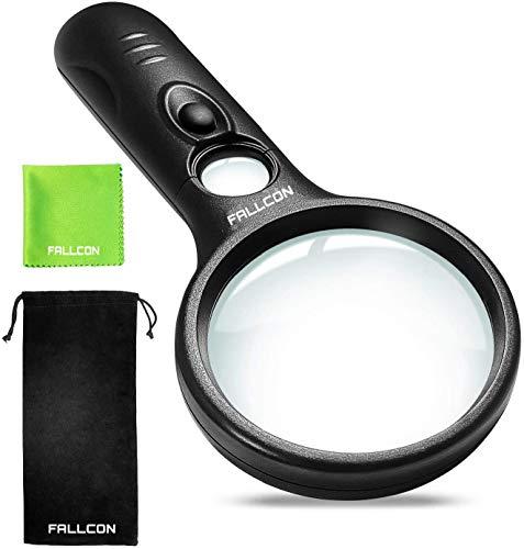Lupa con Luz FALLCON de Gran Aumento LED 3X 45X,Lupa de Mano Portátil para Lectura y Observacion - Con Paño de Limpieza y Bolsa de Almacenamiento.