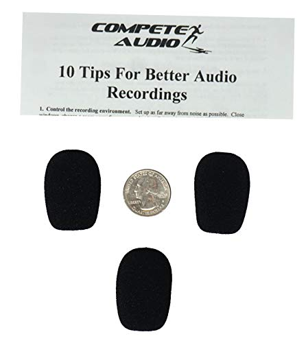 Compete Audio CA132 Larger Foam Microphone Windscreens (Microphone Covers) 3-Pack Desktop/Headset Fitness Instructor/Gamer Pack Black