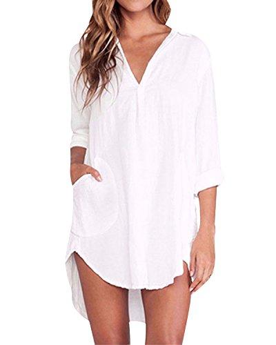 ZANZEA Bluse Damen Langarm Shirt Oberteile Casual V Ausschnitt Einfarbig Sexy Locker Tunika Tops A-Weiß EU 44