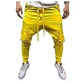URIBAKY - Trabajo de bolsillo con múltiples bolsillos, informal para hombre, pantalón largo amarillo XXL