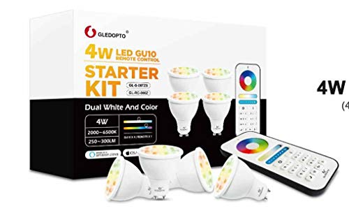 SmartR Zigbee 3.0 4W GU10 x4 RGB+CCT LED Warm White/Cool White Spotlight with RF Remote Control, Compatible with Phillips Hue/Alexa/Google Home/Smartthings/Osram Lightify GU10 4W kit