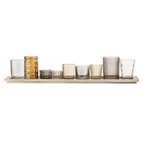 Bloomingville Windlicht, braun, Glas Paulownia Holz