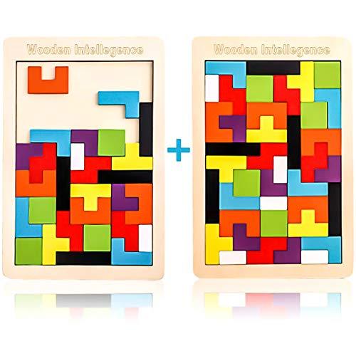 2 Pack Tetris Holz Tangram Kinder Pädagigisches Spiel bunt Holzpuzzle geometrisch Formen mit Box Knobelspiel DE patent 007800123-0001