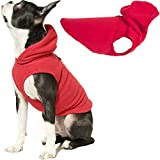 Gooby Dog Hoodie Fleece Vest - Red, X-Small - Pull Over Dog Jacket with Leash Ring - Winter Small Dog Sweater - Warm Dog Clothes for Small Dogs Girl or Boy Dog Vest for Indoor and Outdoor Use