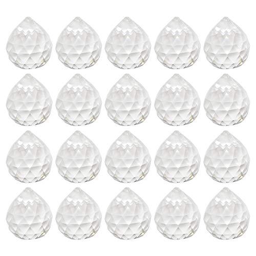 Cristal Prisma Colgante,Tianher 20 Piezas Cristal Ventana Prisma Bola Transparente Facetado Arcoíris Colgante para Feng Shui Decoración Oficina Casa Lámpara Boda Navidad 20mm.