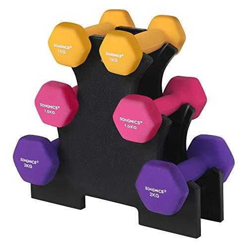SONGMICS Kurzhantel Set, Hexagon, mit Hantelständer, 2 x 1 kg, 2 x 1,5 kg, 2 x 2 kg, Mattes Finish, Neopren-Beschichtung, Krafttraining, zu Hause,gelb, rosa und lilaSYL609B02