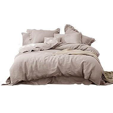 Merryfeel 100% Linen Duvet Cover Set - King Natural