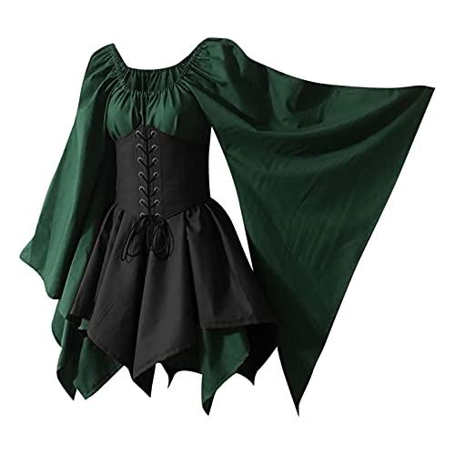 Gothic Kleid Damen Steampunk Kleid Chiffon Kleid Sommerkleid Schulterfrei Lange Ärmel Unregelmäßig Mittelalter Kleidung Viktorianisch Kostüm...