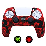 Teebo Cover Skin Case for Sony PS5 Dualsense Controller, Silicone Cover for Playstation 5 Controller x 1(Camouflage Red) with Thumb Grip Caps x 2