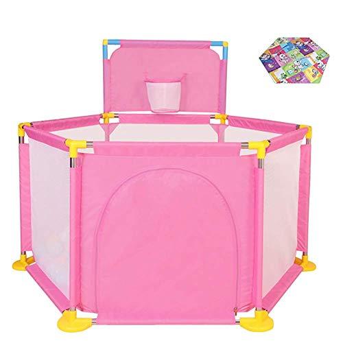 L.TSA Tente de Base-Ball pour Parc à bébé, Rose, avec Mini-Panier, Cerceau de sécurité, Cadeaux de qualité pour bébés, Nourrisson pour Tout-Petit, Enfant