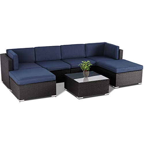 SUNCROWN Outdoor Furniture 7-Piece Sectional Sofa Set, All-Weather Black Brown Wicker and Modern Glass Coffee Table(Blue Cushion)