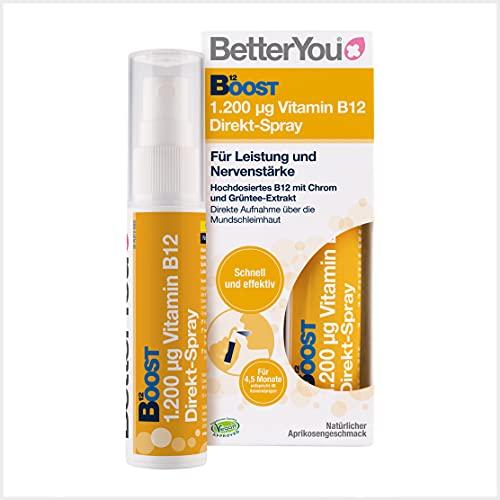 BetterYou Vitamin B12 Direkt-Spray - Zum Sprühen auf die Mundschleimhaut - Natürliches hochdosiertes Vitamin B12 mit Chrom und Grüntee-Extrakt - Schnell & effektiv -vegan, 25ml