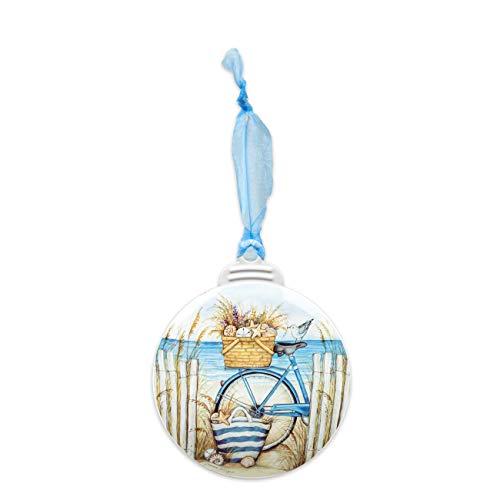 Brownlow Gifts Coastal Hand-Drawn Metal Christmas Ornament, 4.25-Inches, Beach Bike
