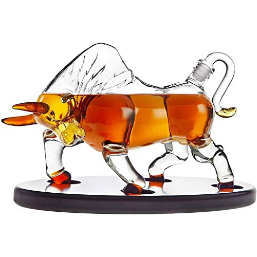 Jiu Koe Type Wijn Decanter, Whiskey Decanter Bull Op Houten Display Lade -voor Liquor Scotch Wodka Of Wijn Decanter-500ml Jiu 750mL Kleur: wit