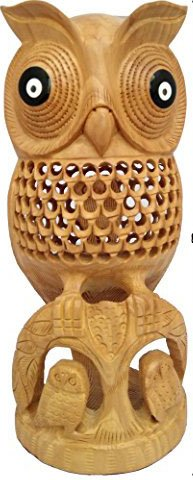 Best Quality 8 Inch Owl Figurine for Home Decor Accent Great Horned Owl Sculpture in Premium Wooden