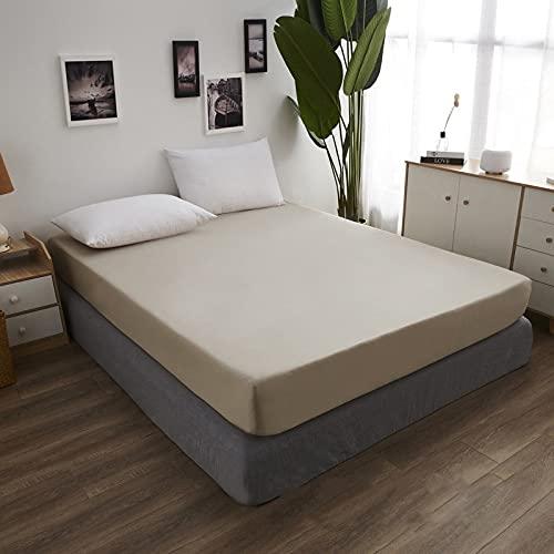 HAIBA Alfombrilla de cama impermeable   Sábana de alta calidad lavable para adultos o niños con incontinencia   Adecuado para camas dobles e individuales, marrón, 120 x 200 + 30 cm