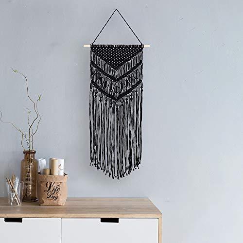Koitoy Makramee Wandbehang Boho Wanddeko Wandteppiche aus Baumwolle Handgefertiges Dekorativer Schwarz für Wohnzimmer Dekoration,40 * 76cm (Black)