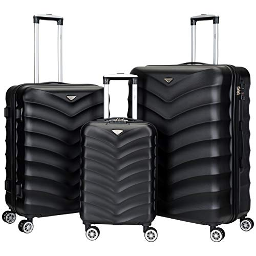 Flight Knight Lightweight 8 Wheel ABS/Polycarbonate Suitcases Approved For Over 100 Airlines - Cabin + Medium + Large Black FK06_BLAC_3SET
